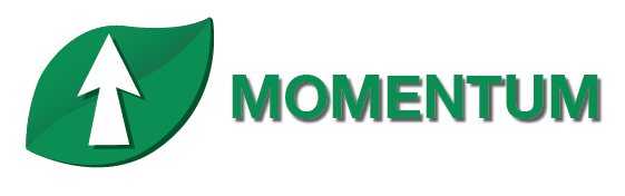 Up Arrow imposed on green leaf-reads: Momentum